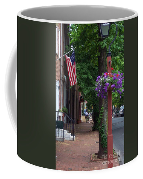 Cityscape Coffee Mug featuring the photograph Patriotic Street In Philadelphia by Debbi Granruth