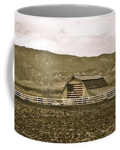 Americana Coffee Mug featuring the photograph Patriotism And Barn by Marilyn Hunt