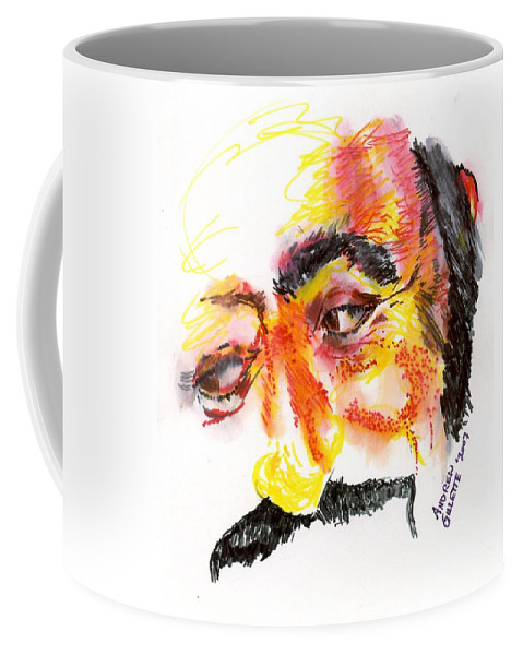 Luciano Pavarotti Coffee Mug featuring the drawing Pavarotti Sketch No. 1 by Andrew Gillette