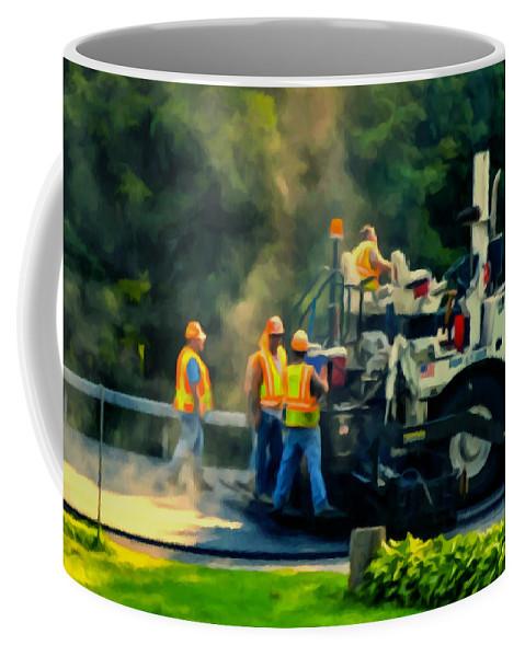 Paving Crew Coffee Mug featuring the painting Paving Crew by Jeelan Clark