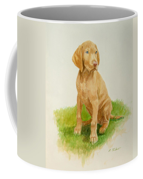 Dog Coffee Mug featuring the painting Paws To Grow Into by Phyllis Tarlow