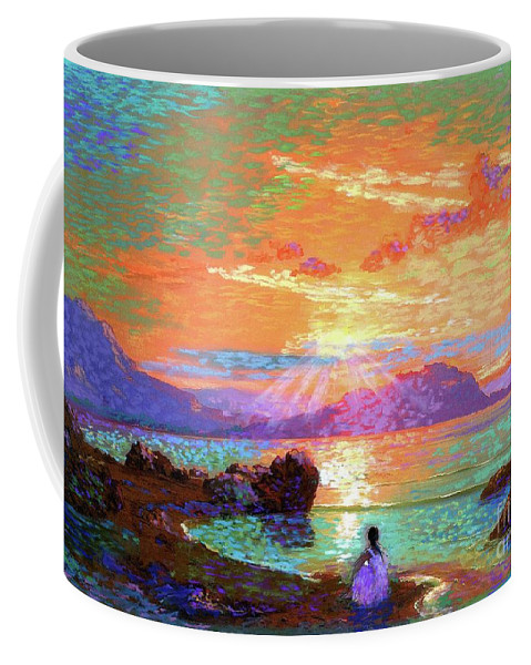Meditation Coffee Mug featuring the painting Peace be Still Meditation by Jane Small