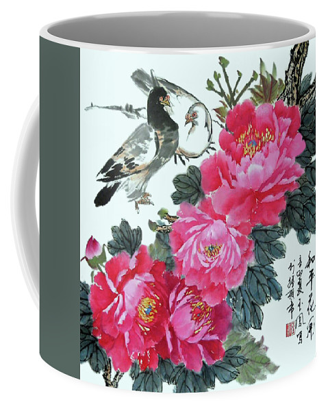 Red Peonies Coffee Mug featuring the photograph Peace Flowers by Yufeng Wang