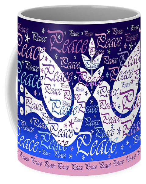Cards Coffee Mug featuring the digital art Peace Holiday Card by Nancy Griswold