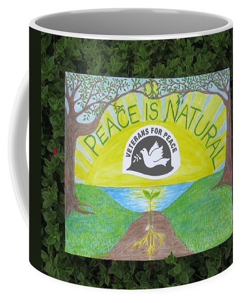 Peace Coffee Mug featuring the drawing Peace Is Natural by Tree Whisper Art - DLynneS