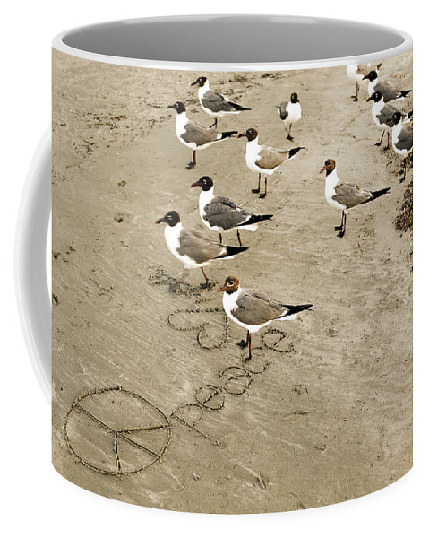 Americana Coffee Mug featuring the photograph Peace On The Beach by Marilyn Hunt