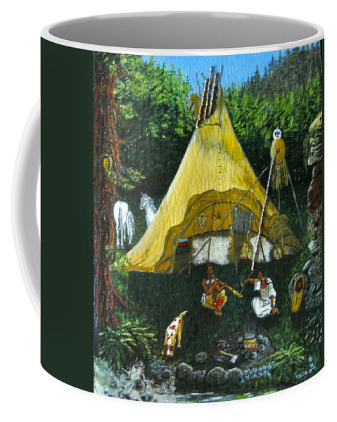 American Indians Coffee Mug featuring the painting Peace Smoke At Sundown by V Boge