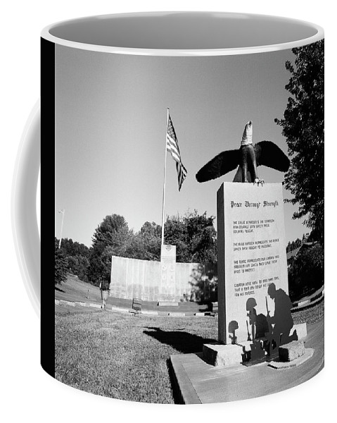 120 Film Coffee Mug featuring the photograph Peace Through Strength - Veterans War Memorial by Timothy Wildey