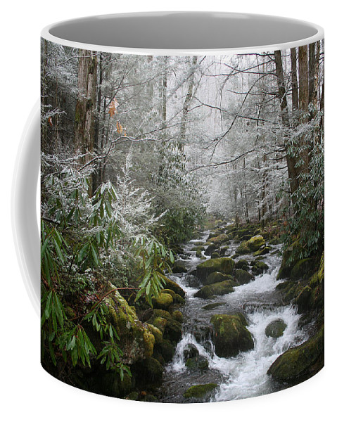 Forest Wood Woods Nature Green White Snow Winter Season Creek River Stream Flow Rock Tree Rush Coffee Mug featuring the photograph Peaceful Flow by Andrei Shliakhau