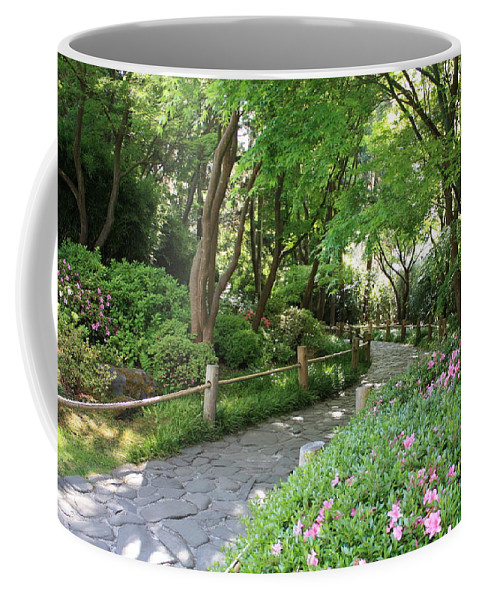 Garden Path Coffee Mug featuring the photograph Peaceful Garden Path by Carol Groenen