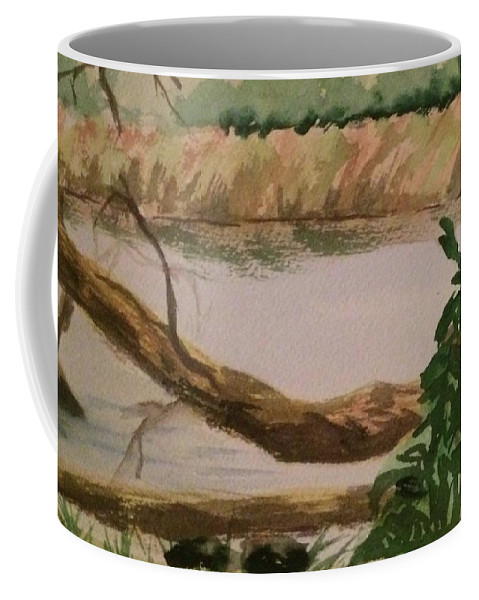 Watercolor Coffee Mug featuring the painting Peaceful River by Katherine Berlin