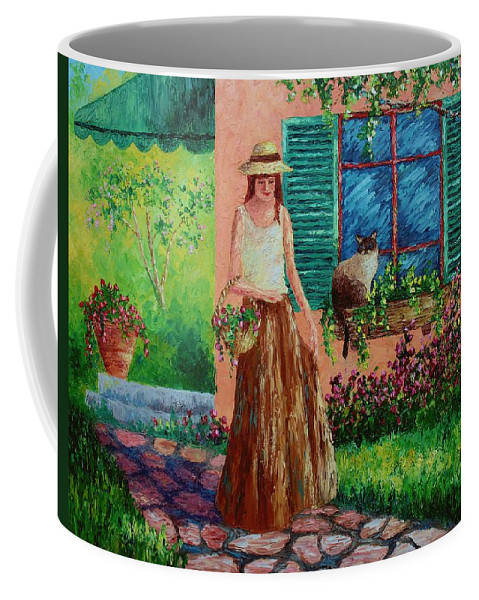 Woman Coffee Mug featuring the painting Peaceful Thoughts by David G Paul