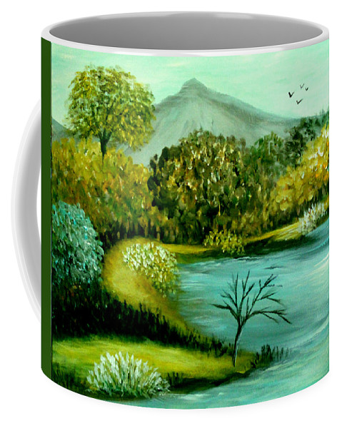 Landscape Coffee Mug featuring the painting Peaceful Waters 2 by Sandra Young Servis