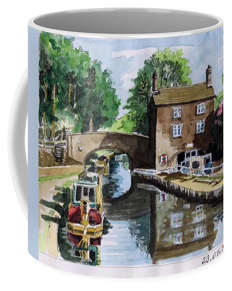 House Coffee Mug featuring the painting Peacfull House On The Lake by Alban Dizdari
