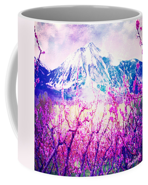 Peach Blossoms Coffee Mug featuring the photograph Peach Blossoms And Mount Lanborn Vi by Anastasia Savage Ealy