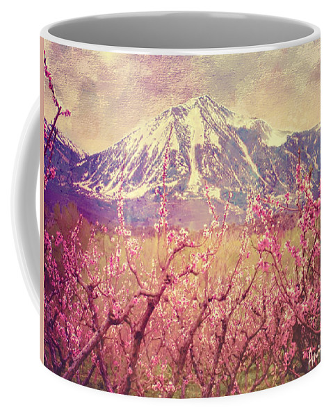 Peach Blossoms Coffee Mug featuring the photograph Peach Booms And Mount Lamborn by Anastasia Savage Ealy