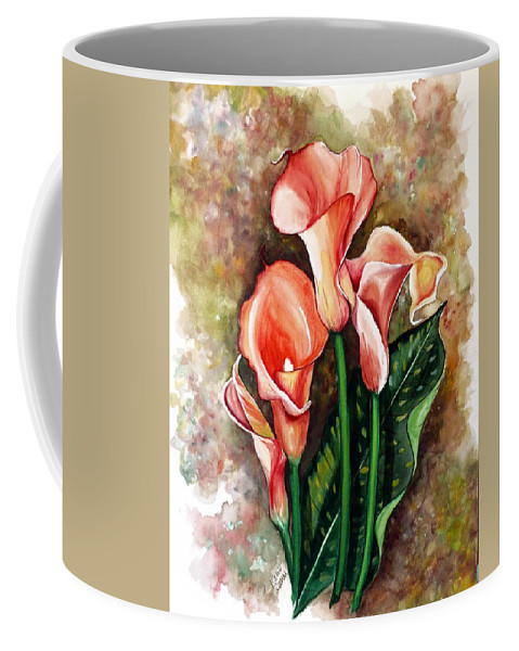 Calla Lily Painting Flower Painting Lilies Painting Peach Painting Pink Painting Floral Painting Bloom Painting Greeting Card Painting Coffee Mug featuring the painting Peach Callas by Karin Dawn Kelshall- Best