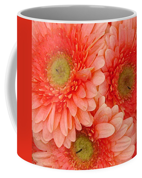 Floral Coffee Mug featuring the painting Peach Gerbers by Amy Vangsgard