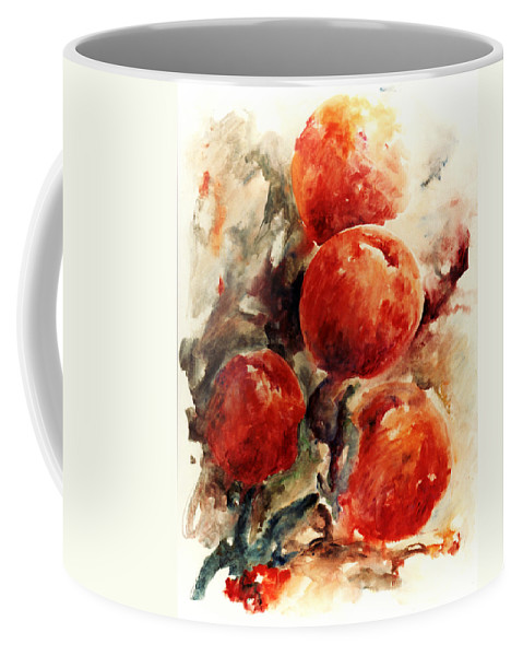 Abstract Coffee Mug featuring the painting Peaches by Rachel Christine Nowicki