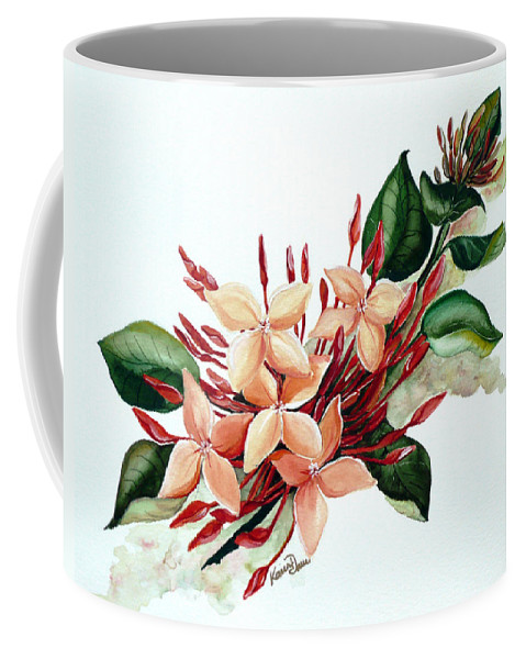 Floral Peach Flower Watercolor Ixora Botanical Bloom Coffee Mug featuring the painting Peachy Ixora by Karin Dawn Kelshall- Best