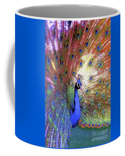 Peacock Coffee Mug featuring the painting Peacock Beauty Colorful Art by Jane Small