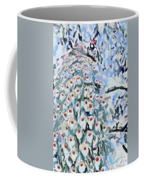 Peacock Blue Fragmented And Vegged Out Coffee Mug featuring the digital art Peacock Blue Fragmented And Vegged Out by Catherine Lott