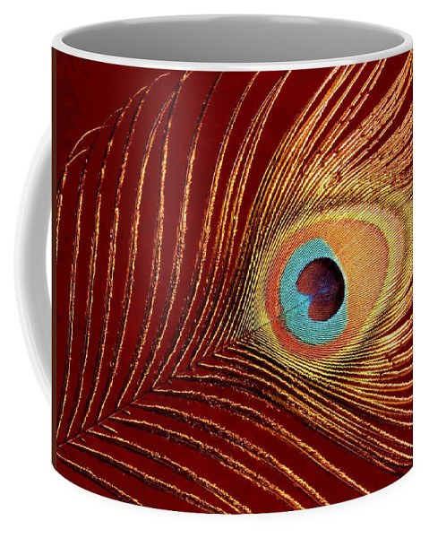 Peacock Feather Coffee Mug featuring the photograph Peacock Feather by Dragica Micki Fortuna