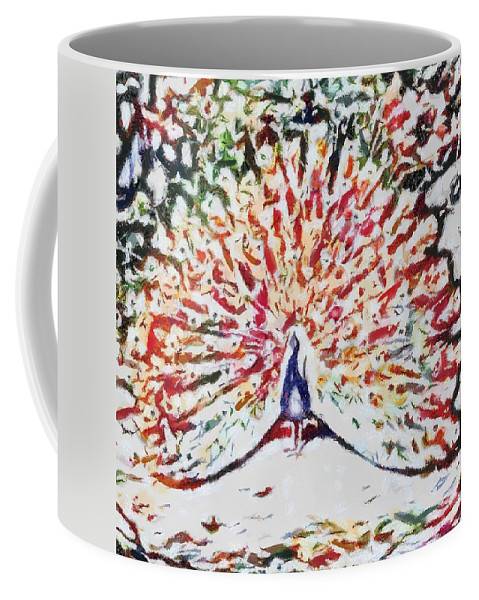 Peacock Fragmented And Vegged Out Coffee Mug featuring the digital art Peacock Fragmented And Vegged Out by Catherine Lott