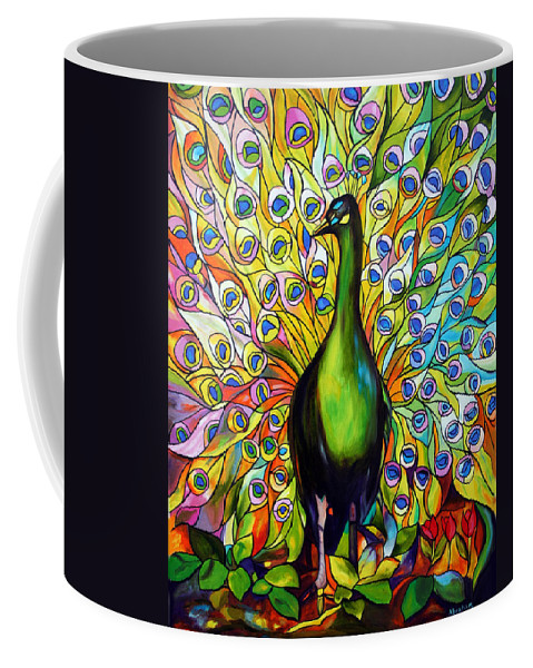 Bird Coffee Mug featuring the painting Peacock by Jose Manuel Abraham