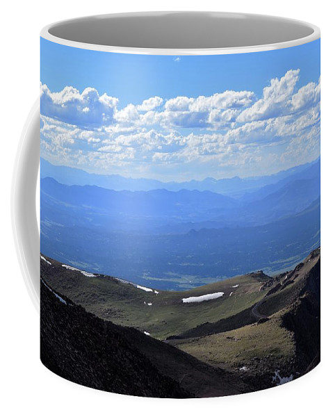 Pikes Peak Coffee Mug featuring the photograph Peak by Heather Fallot