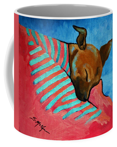 Acrylic Coffee Mug featuring the painting Peanut by Suzanne McKee
