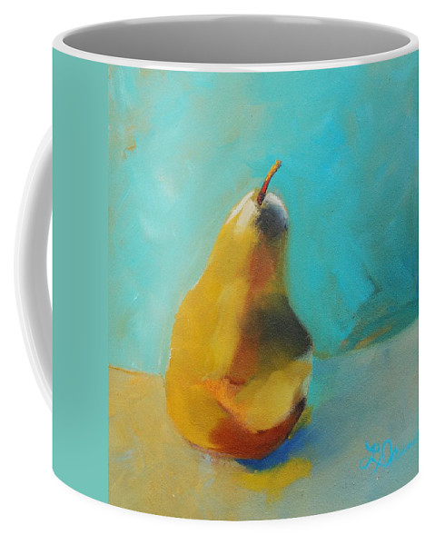 Pear Coffee Mug featuring the painting Pear In Aqua by Laura Drumwright