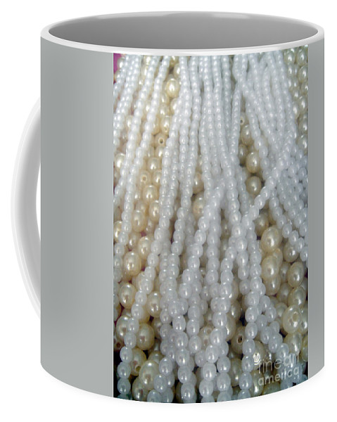 Pearl Coffee Mug featuring the photograph Pearl Beads - White And Beige by Sofia Metal Queen