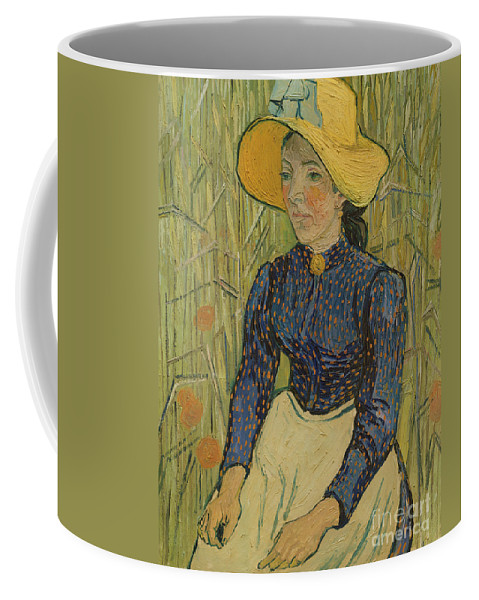 Vincent Van Gogh Coffee Mug featuring the painting Peasant Girl In Straw Hat by Vincent van Gogh