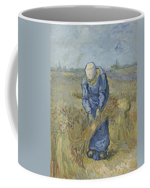 Art Coffee Mug featuring the painting Peasant Woman Binding Sheaves After Millet Saint Remy De Provence September 1889 Vincent Van Gogh by Artistic Panda