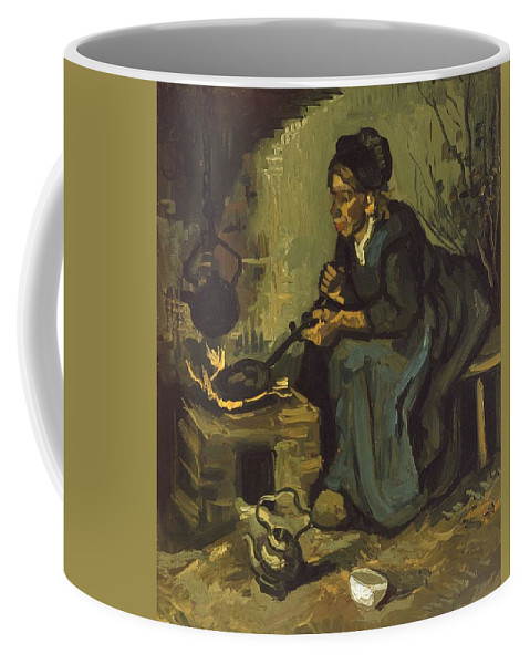 Beautiful Coffee Mug featuring the painting Peasant Woman Cooking By A Fireplace by Artistic Panda