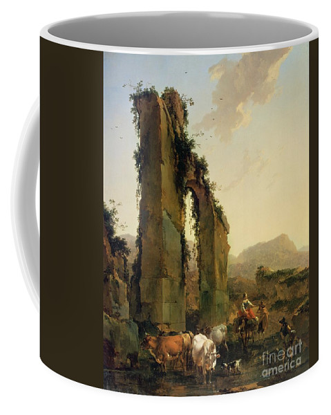 Peasants Coffee Mug featuring the painting Peasants With Cattle By A Ruined Aqueduct by Nicolaes Pietersz Berchem