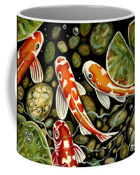 Koi Fish Coffee Mug featuring the painting Pebbles And Koi by Elizabeth Robinette Tyndall