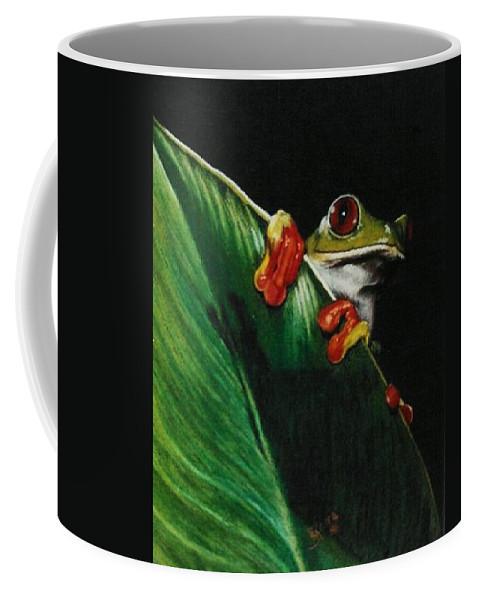 Frog Coffee Mug featuring the drawing Peek-a-boo by Barbara Keith