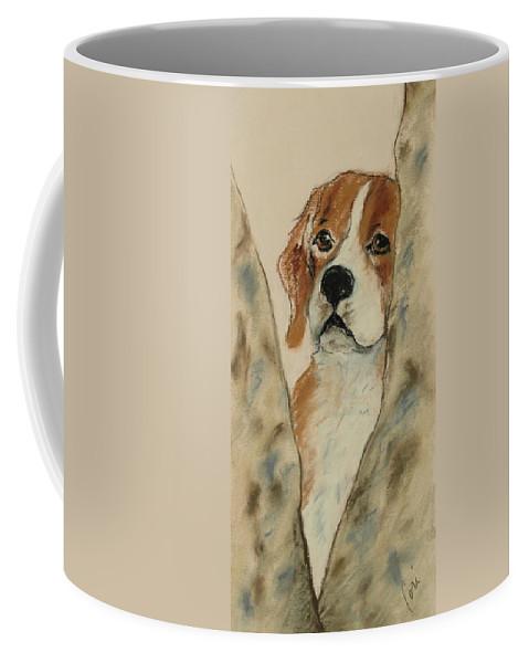 Beagle Coffee Mug featuring the drawing Peek A Boo by Cori Solomon
