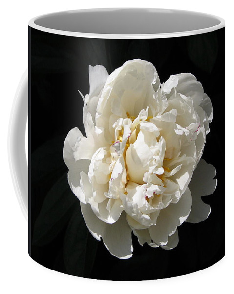 Flower Coffee Mug featuring the photograph Peekaboo Peony by Mary Ellen Mueller Legault