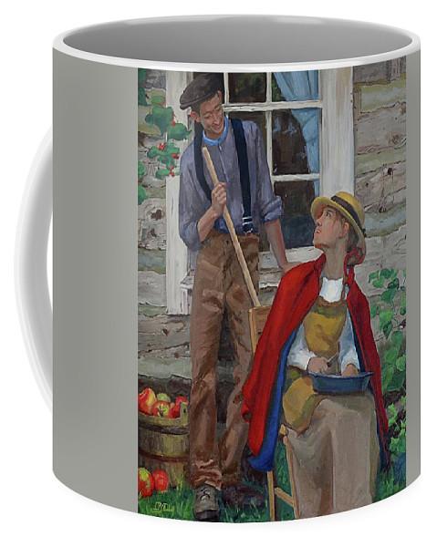 Portrait Coffee Mug featuring the painting Peeling Apples by Jan Christiansen