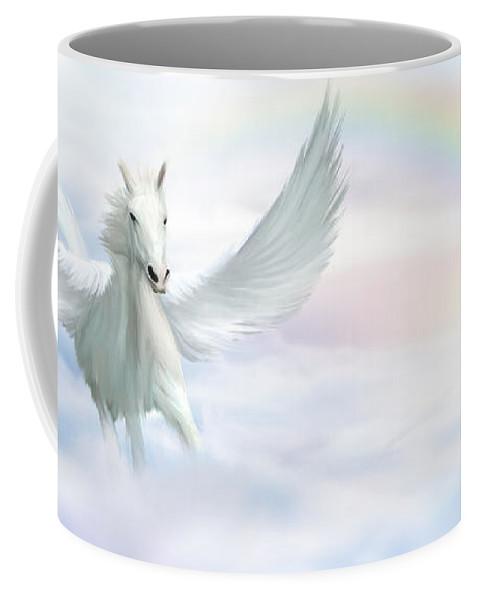 Flying Horse Coffee Mug featuring the digital art Pegasus by John Edwards