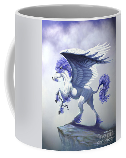 Pegasus.fantasy Coffee Mug featuring the digital art Pegasus Unchained by Stanley Morrison