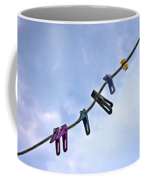 Peg Coffee Mug featuring the photograph Pegging Out by Evelina Kremsdorf