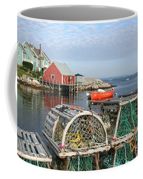 Peggy\\ Coffee Mug featuring the photograph Peggys Cove And Lobster Traps by Thomas Marchessault