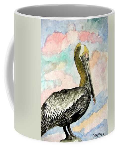 Watercolor Coffee Mug featuring the painting Pelican 2 by Derek Mccrea
