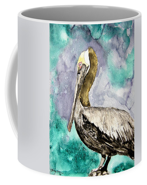 Pelican Coffee Mug featuring the painting Pelican by Derek Mccrea