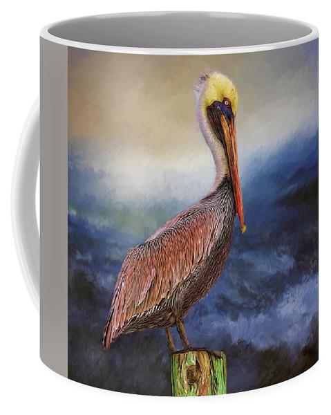 Alicegipsonphotographs Coffee Mug featuring the photograph Pelican Seas by Alice Gipson