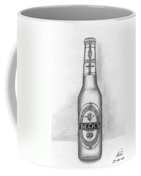 Bottle Coffee Mug featuring the drawing Pencil Work For My Art School by Alban Dizdari